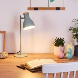 Stolní lampa VENEA zelená + dřevo